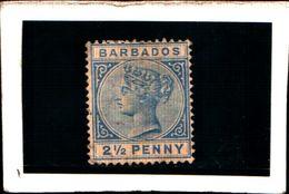 93757 ) BARBADOS 1882-86-REGINA VITTORIA 2.5 P. AZZURRO- MLH* - Barbados (...-1966)