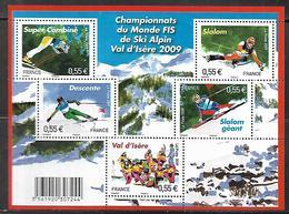 169 France F4329 Championnat Du Monde De Ski Alpin Val D'Isère 2009 N++ - Blocs & Feuillets