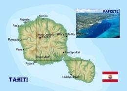 French Polynesia Tahiti Map New Postcard Französisch Polynesien Landkarte AK - Polynésie Française