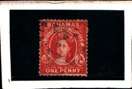 93766 ) BARBADOS 1861-REGINA VITTORIA 1 P. CARMINIO N.2-USATO DENT .14-16 - Bahamas (...-1973)