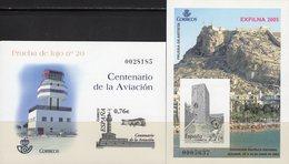 Imperf.EXPO 2004 Spanien 3909B+Bl.146SD ** 25€ Motorflug Wright Festungs-Turm Hoja Pruebas Bloc Black Sheets Espana - Probe- Und Nachdrucke