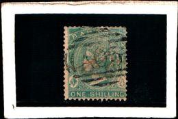 93769 ) BARBADOS 1875-REGINA VITTORIA 1 S. VERMIGLIO N.9-USATO DENT .14 - Bahamas (...-1973)