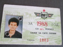 TRANSPORTATION SEASON TICKET 1988, MACEDONIA - Abbonamenti