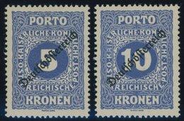 PORTOMARKEN P 73/4 *, 1919, 5 Und 10 Kr. Deutsch-Österreich, Falzrest, 2 Prachtwerte, Mi. 30.- - Postage Due