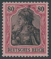 Dt. Reich 93I **, 1905, 80 Pf. Dkl`rötlichkarmin/schwarz Auf Mattrosarot Friedensdruck, Postfrisch, Feinst (etwas Wellig - Germany