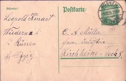 ! 1925 Ganzsache Deutsches Reich, Wiederau Bei Rüssen Bz. Leipzig Nach Kirchheim Teck - Covers & Documents