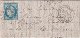 FRANCE                           BALLON MONTE  POUR TOURS DEPART LE 31  DECEMBRE 1870  TB - Postmark Collection (Covers)