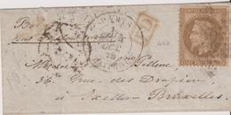 FRANCE                           BALLON MONTE  POUR BRUXELLES DEPART LE 4 OCTOBRE  1870  TB - Postmark Collection (Covers)