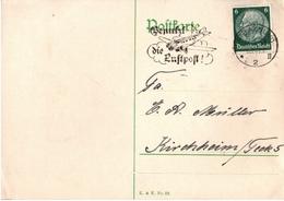 ! 1934 Ganzsache Deutsches Reich, Niepars, Maschinenstempel Stralsund Nach Kirchheim Teck - Germany