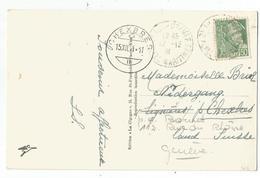 MERCURE 50C VERT SEUL CARTE 5 MOTS BEAULIEU S MER 12.12.1941 POUR SUISSE AU TARIF RARE - 1938-42 Mercure