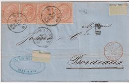 ITALIE ITALIA     ROYAUME LETTRE POUR BORDEAUX - 1861-78 Victor Emmanuel II