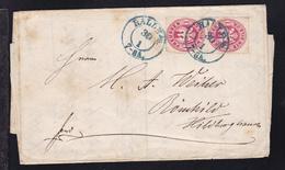 Adler 1 Sgr. Senkr. Paar Auf Brief Mit K2 HALLE A/S. 30.1. Nach Römhild - Prusse