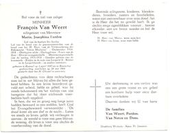 Devotie Doodsprentje Overlijden - Oudstrijder François Van Weert Echtg Maria Pardon - Ramsel 1887 - Booischot 1964 - Décès