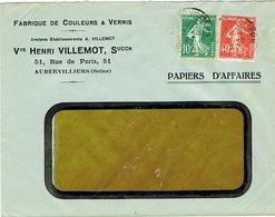 ENVELOPPE  A FENETRE EN-TETE COULEURS ET VERNIS HENRI VILLEMOT AUBERVILLIERS - Marcophilie (Lettres)