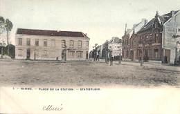 Hamme - Place De La Station - Statieplein (animatie, Gekleurd Bertels 1907) - Hamme