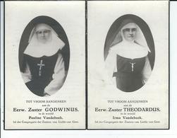 Pauline En Irma Vandebeek  ( Zusters Van Liefde Gent ) O Zolder 1902 En 1907 + Beiden In 1942 - Andachtsbilder