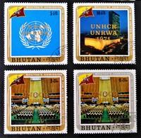 SURCHARGES DOREES 1971 - OBLITERES - MI 486/87 + 489 + 492 - Bhoutan