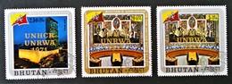 SURCHARGES DOREES 1971 - OBLITERES - MI 487/88 + 491 - Bhoutan