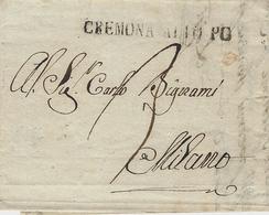 1817 - Lombardo-Venetie - Lettre De CREMONA / ALTO PO Noir  ( Voll. N° 11) Taxe 3 Pour Milano - 1. ...-1850 Prefilatelia