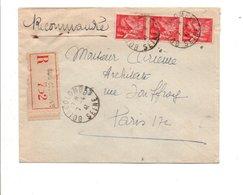 AFFRANCHISSEMENT COMPOSE D'IRIS SUR LETTRE RECOMMANDEE DE BOIS COLOMBES SEINE 1941 - Poststempel (Briefe)