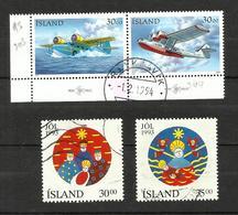 Islande N°743, 744, 748, 749 Cote 4.25 Euros - Used Stamps