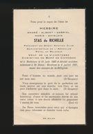 ADEL NOBLESSE  ANDRE STAS De RICHELLE - BOTTELARE 1897  ST DENIJS WESTREM 1957 - Obituary Notices