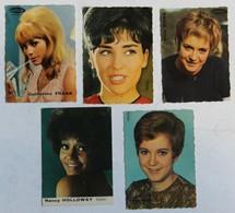 Lot De 5 Petits Cartes Chanteuses Années 60-70 Catherine Frank Alice Dona Rika Zaraï Nancy Holloway - Singers & Musicians
