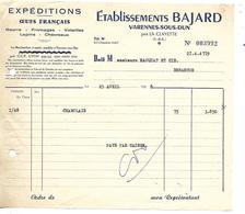 Facture 1/2 Format 1958 / 71 VARENNES SOUS DUN / BAJARD Expéditions Oeufs, Beurre Fromage Volailles Lapins Chevreaux - France