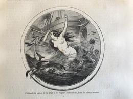 Gravure PARIS Plafond Du Salon De La Paix : La Vapeur Mettant En Fuite Les Dieux Marins - Vieux Papiers