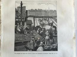 Gravure PARIS On Assujettit Les Traits D'un Cheval à Chacun Des Membres De Damiens - Vieux Papiers