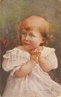 """""""""""A. Von Riesen. Little Girl.Praying. Abndgebet"""" Fine Painting, Vintage German Postcard - Retratos"""