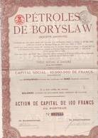 Pétrole De BORYSLAW Action De 100 Frs Anvers (Relgique) 1905 - Pétrole