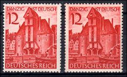 715 Danzig Krantor - Je Eine Marke Mit Rötlichem Und Mit Weißem Himmel, Set ** - Deutschland