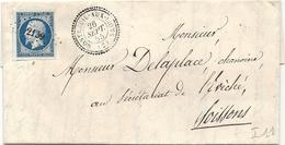 PERLE Type 22 De MONTREUIL AUX LIONS (Aisne) + PC 2139. 1855 - 1849-1876: Classic Period