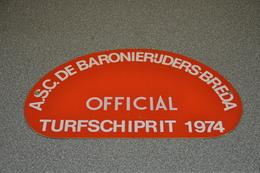 Rally Plaat-rallye Plaque Plastic: 20e Turfschiprit Breda 1974 OFFICIAL Baronierijders - Plaques De Rallye