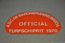 Rally Plaat-rallye Plaque Plastic: 16e Turfschiprit Breda 1970 OFFICIAL Baronierijders - Rallye (Rally) Plates
