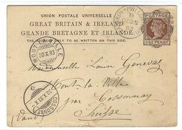 GRANDE BRETAGNE 1899: CP Entier Postal De 1 P. De Llanfair  Pour La Suisse, Très Beaux CAD Et Obl. Ellipse Barrée F2 - 1840-1901 (Victoria)