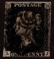 GBR SC #1 U (L,J) 1840 Queen Victoria P5 W/black MC CV $360.00 - 1840-1901 (Victoria)