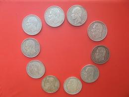 LOT 10 MONNAIES 5 FRANCS 1849-1876 ARGENT 250 Grammes. Léopold 1er+Léopold II. - Belgium