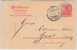 DR - Immenstaad (Baden) 1908, KOS A. 10 Pfg. Germania GA-Karte I.d. SCHWEIZ - Cartas