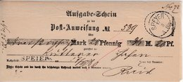 Bayern - Speyer, L1 U. K1 A. Aufgabeschein F. Postanweisung 1880 - Bavière