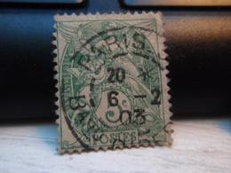 Timbre  Type Blanc 5 C N° 111 - Oblitéré  - PARIS 1903 - 1900-29 Blanc