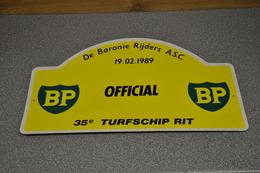 Rally Plaat-rallye Plaque Plastic: 35e Turfschiprit Breda 1989 OFFICIAL BP Baronierijders - Plaques De Rallye