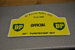Rally Plaat-rallye Plaque Plastic: 35e Turfschiprit Breda 1989 OFFICIAL BP Baronierijders - Rallye (Rally) Plates