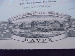 FRANCE - 76 - LE HAVRE 1896 - STE GRAND HOTEL ET BAINS FRASCATI - ACTION 100 FRS - PEU COURANT - DECO - Unclassified
