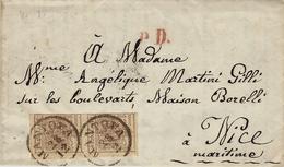 1855- Lettre De MANTOVA Pour NIzza  Affr. Paire Y & T N°4 ( 3 Marges ) - Lombardy-Venetia