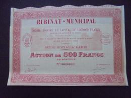 FRANCE - 75 - RUBINAT MUNICIPAL - ACTION DE 500 FRS - PARIS 1922 - DECO - Unclassified