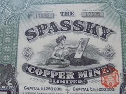 ANGLETERRE - LONDRES 1913 - SPASSKY COPPER MINE - TITRE DE 5 ACTIONS 1£ - LOT DE 5 TITRES - Unclassified