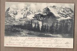 CPA SUISSE - WENGERNALP - Eiger , Mönch Und Jungfrau - TB PLAN Montagnes + TB Oblitération TAMPONS WENGERNALP - BE Berne