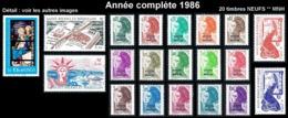 ST-PIERRE ET MIQUELON  - Année Complète 1986 - Yv. 455 à 474 ** MNH  Faciale= 6,52 EUR - 20 Tp  ..Réf.SPM11786 - St.Pierre & Miquelon